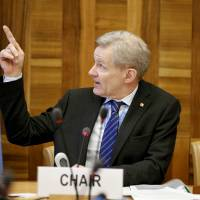 Jan Egeland, senior adviser to the United Nations special envoy for Syria, Staffan de Mistura, speaks during the Task Force on Humanitarian Access in Syria first meeting in Geneva Feb. 12. | REUTERS