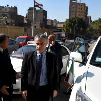 Italian Ambassador to Egypt Maurizio Massari arrives at the morgue in Cairo Thursday. The body of an Italian student who went missing in Cairo was found half-naked by the roadside with cigarette burns and other signs of torture, a senior Egyptian prosecutor said on Thursday. | REUTERS