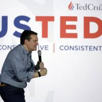Republican presidential candidate, Sen. Ted Cruz,  speaks at Iowa State Fairgrounds Sunday in Des Moines, Iowa. Cruz has reportedly said that if elected president, he would be inclined to conduct 'carpet bombing' in the war against Islamic State and make the Mideast sands 'glow.' | AP
