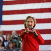 Democratic presidential candidate Hillary Clinton speaks at a rally at Truckee Meadows Community College on Monday in Reno, Nevada. | AP