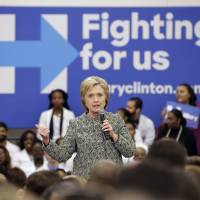 Democratic presidential candidate Hillary Clinton speaks at Meharry Medical College on Sunday in Nashville, Tennessee. | AP