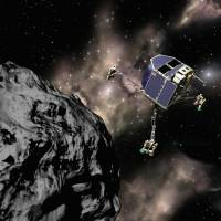 This file image received from the European Space Agency on Feb. 6, 2004, shows a computer-generated image of the ESA space probe 'Rosetta' and its landing capsule 'Philae.' Ground controllers said on Feb. 12, 2016, they would stop sending commands to robot lab Philae, thought to have entered hibernation on the surface of a comet, closing a chapter in a captivating science quest. | AFP-JIJI