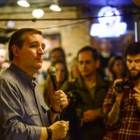 Republican presidential candidate Sen. Ted Cruz speaks at a town hall-style event at Pedraza's Mexican Restaurant in Keene, New Hampshire, Sunday. | KRISTOPHER RADDER / THE BRATTLEBORO REFORMER VIA AP