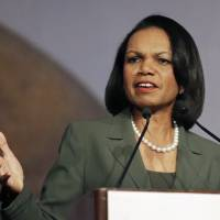 Former Secretary of State Condoleezza Rice speaks in Burlingame, California, in 2014. The State Department watchdog has found that former Secretary of State Colin Powell and the immediate staff of former Secretary of State Rice also received classified national security information on their personal email accounts, Rep. Elijah Cummings said Thursday. | AP