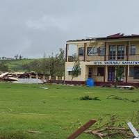 This handout photograph taken and provided on Sunday by Jay Dayal shows damage to a school in Ba after the most powerful cyclone in Fiji's history battered the Pacific island nation. Fiji began a massive cleanup on Sunday. | JAY DAYAL / AFP-JIJI