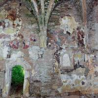 Fragments of a 14th-century copy of Giotto's 'Navicella' mosaic that have survived inside the ruins of a church in Jelna, Romania, are seen earlier this month. | AFP-JIJI