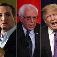The top U.S. presidential candidates are seen in this photo combo Thursday (from left) Republicans Marco Rubio and Ted Cruz, Democrat Bernie Sanders, Republican Donald Trump and Democrat Hillary Clinton. The candidates head to the Super Tuesday' primaries on March 1. | AFP-JIJI