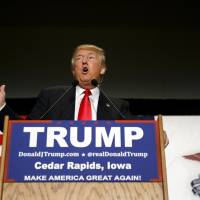 Donald Trump, president and chief executive of Trump Organization Inc. and 2016 Republican presidential candidate, speaks during a campaign event in Cedar Rapids, Iowa, Monday. Trump's I'll-say-whatever-I-want style works in Iowa, where he led Republican polls ahead of Monday's caucuses, the first electoral event of the 2016 presidential election. | BLOOMBERG