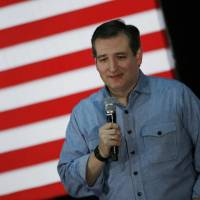U.S. Republican presidential candidate Ted Cruz speaks at a campaign rally in Des Moines, Iowa, on Sunday. | REUTERS