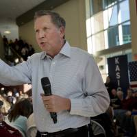 John Kasich, governor of Ohio and 2016 Republican presidential candidate, speaks during a town hall event in Nashua, New Hampshire, Sunday. A former congressman and Lehman Brothers investment banker, Kasich placed eighth in the Feb. 1 Iowa caucuses. He's aiming for a better outcome in New Hampshire, which votes on Tuesday and where the most recent poll put him fourth behind Donald Trump, Marco Rubio, and Ted Cruz. | BLOOMBERG