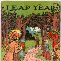 This humorous leap year postcard from 1908 shows a bachelor walking along a path with women lying in wait to propose to him. | PUBLIC DOMAIN, VIA WIKIMEDIA COMMONS