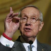 Senate Minority Leader Harry Reid responds to Republican leadership during a news conference on Supreme Court nominations after party caucus luncheons on Capitol Hill in Washington Tuesday. | REUTERS