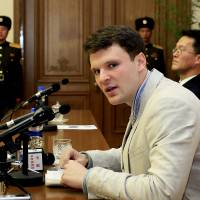Detained American student Otto Warmbier speaks on Monday in Pyongyang. | AP