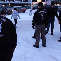 A group of men calling themselves the Soldiers of Odin gather Friday in Kemi, northern Finland. | AFP-JIJI