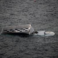 A boat that capsized is seen Sunday in Canakkale's Bademli district after at least 37 migrants drowned in the Aegean Sea while trying to cross from Turkey to Greece, Turkey's state-run Anatolia news agency reported. The migrants, some from Syria, others from Afghanistan and Myanmar, set sail from the Canakkale province to reach the nearby Greek island of Lesbos, Anatolia said. | AFP-JIJI