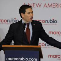 Republican presidential candidate Sen. Marco Rubio speaks to supporters at the Des Moines Marriott Downtown hotel in Des Moines, Iowa, on Monday. | REUTERS