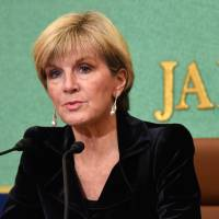 Australian Foreign Minister Julie Bishop addresses reporters in Tokyo on Tuesday.   AFP-JIJI