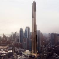 An artist's rendering shows the 9 Dekalb building planned for downtown Brooklyn. In New York City, nothing escapes the pressure to be taller and skinnier — not even the skyscrapers. The last few years have seen the rise of the supertall skyscraper, a building standing more than 300 meters high. | AP