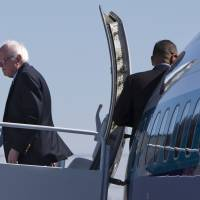 Democratic presidential candidate Sen. Bernie Sanders arrives in Oklahoma City Sunday. | AP
