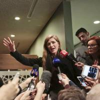 U.S. Ambassador to the U.N. Samantha Power speaks during a press briefing after closed Security Council meetings on Syria on at U.N. headquarters in New York. | AP