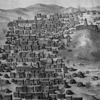 Timbuktu, a center of civilization when Europe was in the Dark Ages, is shown in an engraving by the French explorer Rene Caillie, who visited Timbuktu in 1828 and was the first European to return alive from the city. Three mosques are depicted, with pointed towers. The Sidi Yahia mosque is in the foreground. | RENE CAILLIE (1799-1838)