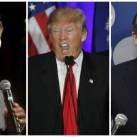 A combination photo shows U.S. Republican presidential candidates Marco Rubio (left) in North Las Vegas, Nevada, Sunday, Donald Trump in Spartanburg, South Carolina, on Saturday and Ted Cruz in Las VegasMonday. In South Carolina last weekend, exit polls showed Trump comfortably beat both his closest rivals Ted Cruz and Marco Rubio among evangelical voters, despite their more consistent appeals to Christian values. | REUTERS