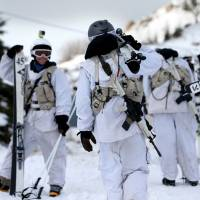 Israeli soldiers of the alpine unit prepare for a patrol at the Mount Hermon ski resort in the Israeli-occupied Golan Heights on Jan. 21. | AFP-JIJI