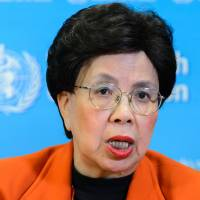 World Health Organization chief Margaret Chan gives a press conference on Monday in Geneva after an emergency committee to debate whether a Zika virus outbreak suspected of causing a surge in serious birth defects in South America should be considered a global health emergency. | AFP-JIJI