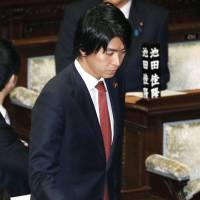 Kensuke Miyazaki attends a Lower House plenary session Tuesday, where his resignation was approved.   KYODO