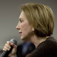 Republican presidential candidate Carly Fiorina speaks at Iowa State University on Saturday.   AP