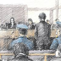 An artist depicts the eldest of three teenagers charged over the killing of Ryota Uemura pleading guilty in the Yokohama District Court on Tuesday. | KYODO