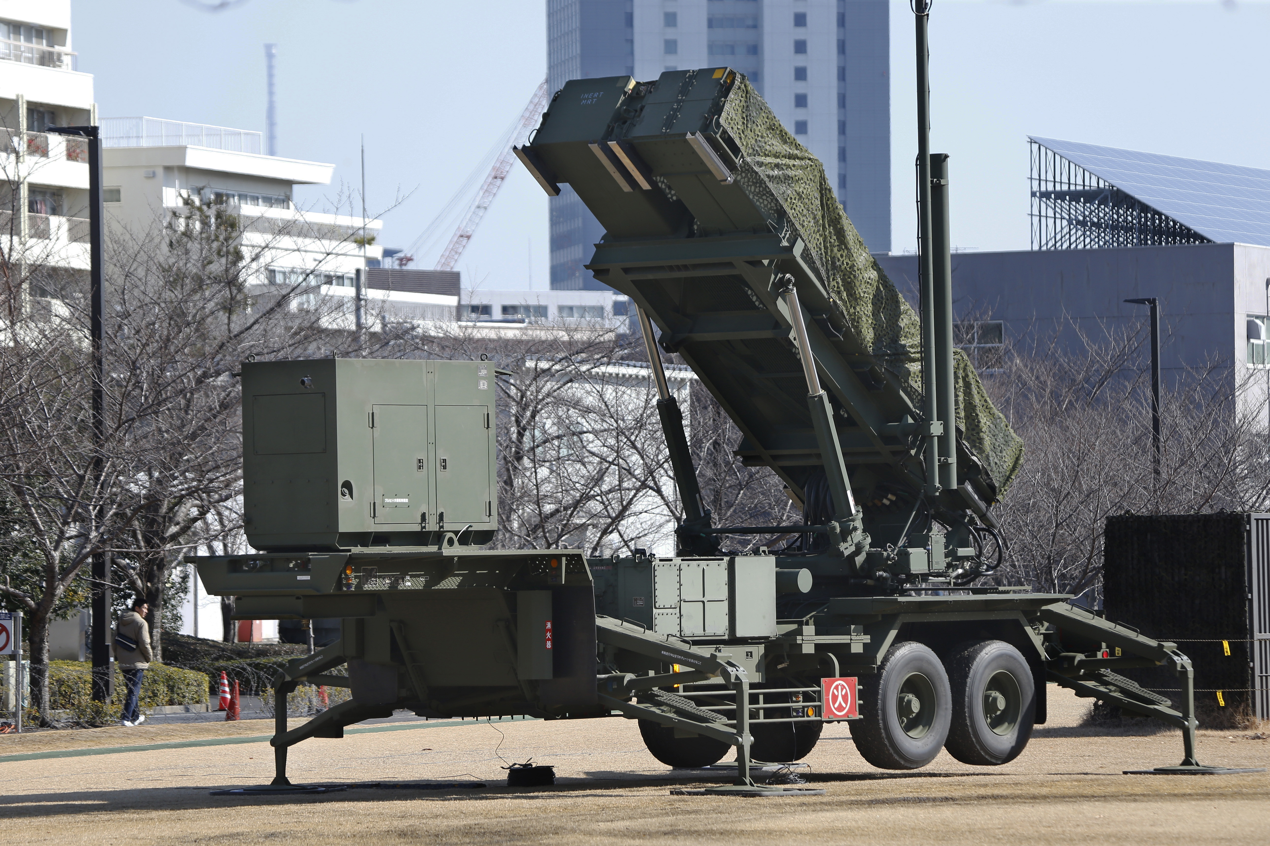 A Self-Defense Forces PAC-3 Patriot missile battery stands at the Defense Ministry in Tokyo on Sunday. | AP