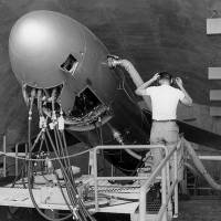 Technicians work on a Mace B cruise missile on Okinawa in April 1962. Carrying a 1-megaton W28 nuclear warhead, the rocket-boosted, jet-propelled Mace missile could be fired at six minutes' notice.   NARA, STILL PICTURES UNIT, RECORD GROUP 342B, BOX 1470