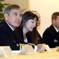 U.S. Navy Adm. Harry B. Harris Jr., commander of the United States Pacific Command, speaks during a meeting with Foreign Minister Fumio Kishida in Tokyoon Feb. 17. | AP