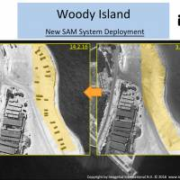 These satellite photos provided by ImageSat International on Wednesday show the changes on Woody Island in the South China Sea from Feb. 2 (right) to 14. | AP