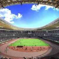 An artist rendering provided by the Japan Sports Council shows the interior view of the new main stadium for the 2020 Tokyo Olympics designed by Kengo Kuma. | AP