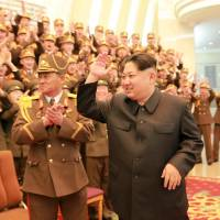 Big man: North Korean leader Kim Jong Un waves at a concert celebrating the 70th anniversary of the Korean People's Army military band in Pyongyang. | REUTERS