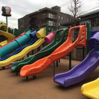Letting it slide: One of the highlights of Roboroborobo Park is its array of different-shaped plastic slides. | DANIELLE DEMETRIOU