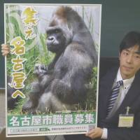 A poster for Nagoya's municipal employee recruitment drive features Shabani the gorilla. | KYODO