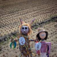 The winning scarecrow designs from Ehime University Faculty of Education Fuzoku Elementary School and St. Andrew's Lutheran College in Queensland that were entered in a local competition in Ehime Prefecture. | COURTESY OF LAURA KAWAGUCHI