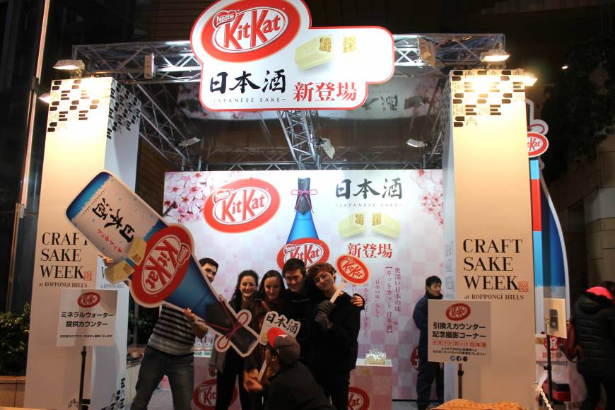 From left to right, Ari, Sophie, Ivy, Brandon, Justin and Nathan from Temple University. Nestlé Japan recently released a sake-flavored Kit Kat that contains .8 percent alcohol.