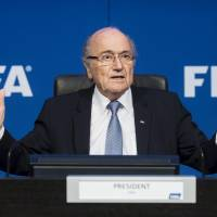 Sepp Blatter speaks during a news conference in a July, 20, 2015, file photo, in Zurich. Blatter had a hearing with FIFA's appeals committee on Tuesday. | KYODO