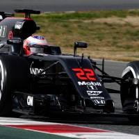 McLaren Honda's Jenson Button drives at the Circuit de Catalunya on Monday in Montmelo on the outskirts of Barcelona on the first test day of the Formula One Grand Prix season. | AFP-JIJI