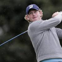 Brandt Snedeker watches his tee shot on the 18th hole during the final round of the Farmer's Insurance Open on Sunday in San Diego. | AP