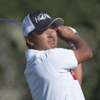 Hiroshi Iwata watches his tee shot on the 17th hole during the second round of the AT&T Pebble Beach Pro-Am on Friday. | USA TODAY / REUTERS