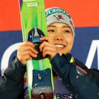 Sara Takanashi, seen here last week, won for the ninth time in 10 events this season when she captured the title at a World Cup jump in Oslo on Thursday night. | AFP-JIJI