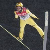 Noriaki Kasai competes in a World Cup event on Friday in Vikersund, Norway. | KYODO