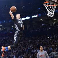 Minnesota's Zach LaVine competes in the NBA All-Star dunk contest in Toronto on Saturday. | USA TODAY / REUTERS