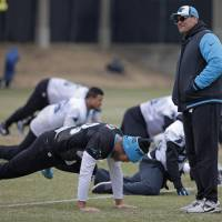 Panthers head coach Ron Rivera oversees practice on Thursday in Charlotte, North Carolina. | AP