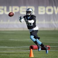 Carolina wide receiver Corey Brown catches a pass during practice on Thursday in San Jose, California. The Panthers will play the Denver Broncos in Super Bowl 50 on Sunday. | AP